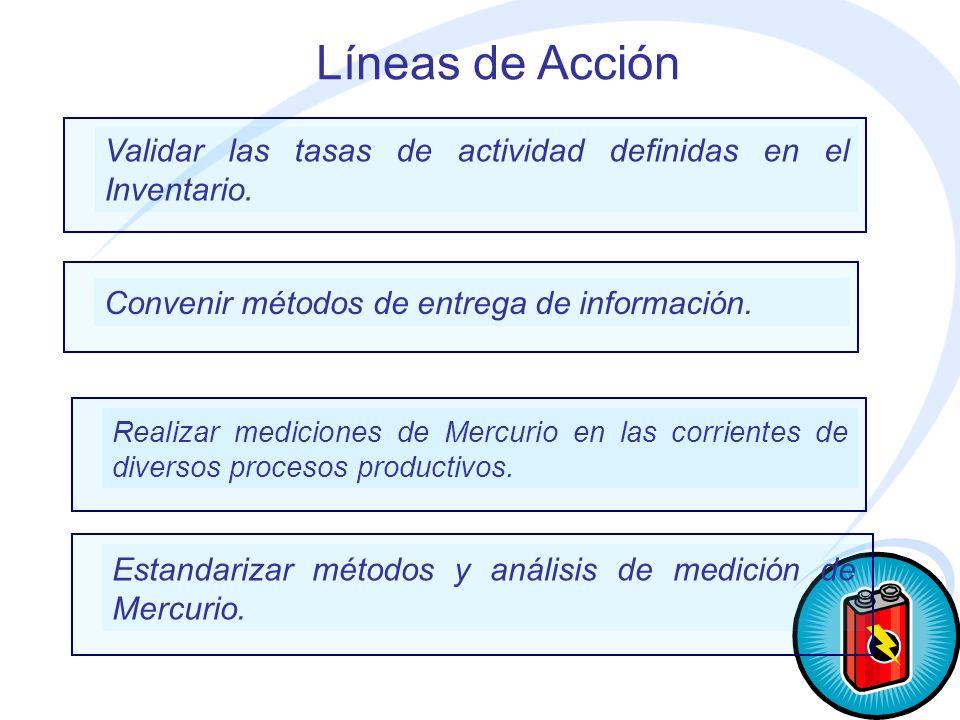 Líneas de Acción Validar las tasas de actividad definidas en el Inventario. Convenir métodos de entrega de información.