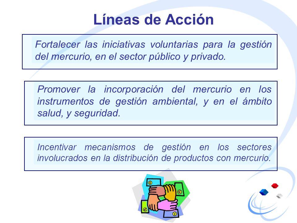 Líneas de Acción Fortalecer las iniciativas voluntarias para la gestión del mercurio, en el sector público y privado.