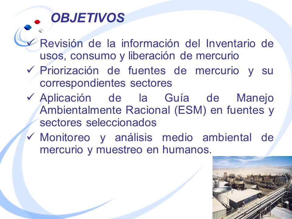 OBJETIVOS Revisión de la información del Inventario de usos, consumo y liberación de mercurio.