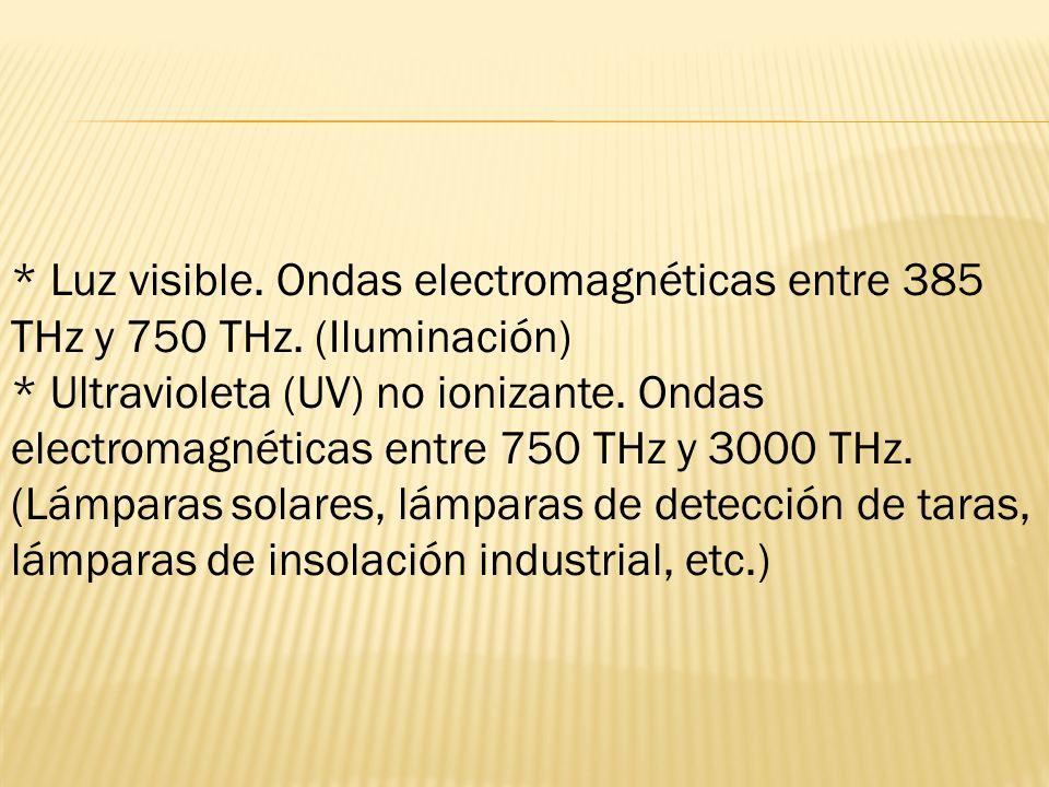 Luz visible. Ondas electromagnéticas entre 385 THz y 750 THz
