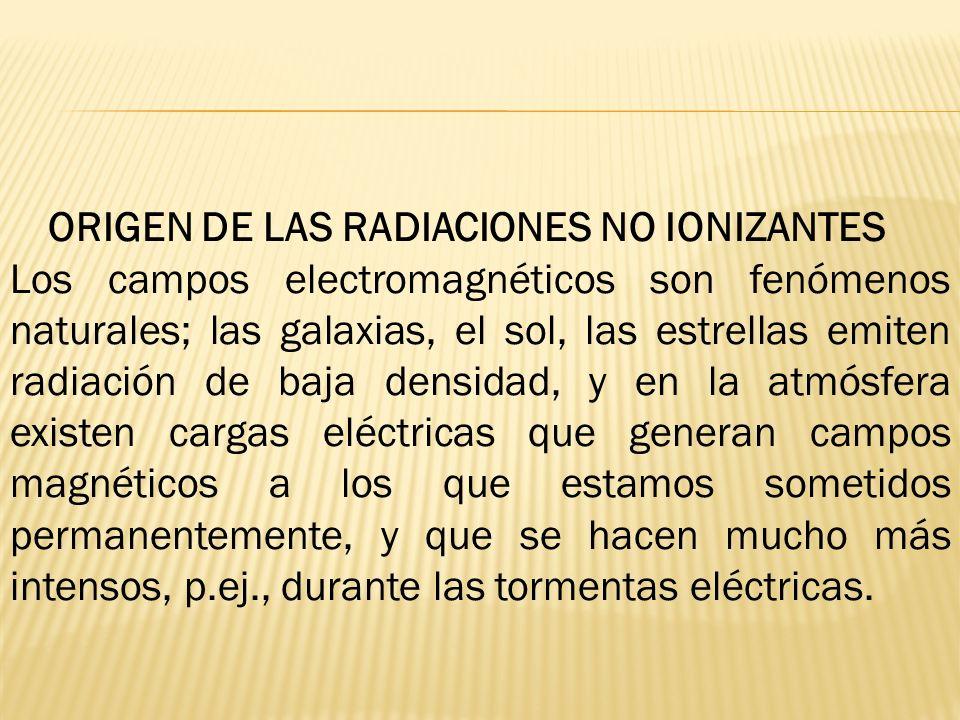 ORIGEN DE LAS RADIACIONES NO IONIZANTES