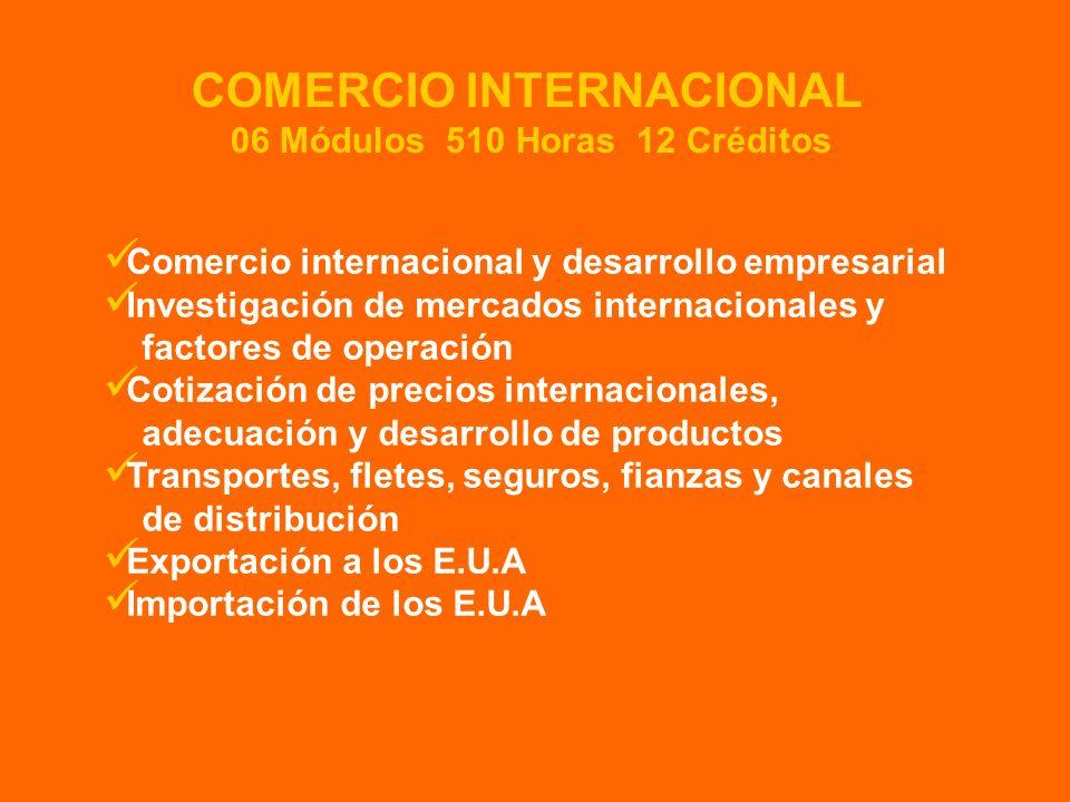 COMERCIO INTERNACIONAL 06 Módulos 510 Horas 12 Créditos