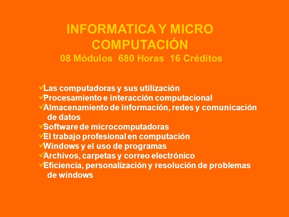 INFORMATICA Y MICRO COMPUTACIÓN 08 Módulos 680 Horas 16 Créditos