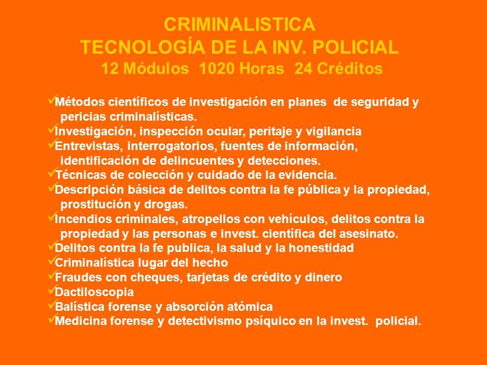 TECNOLOGÍA DE LA INV. POLICIAL 12 Módulos 1020 Horas 24 Créditos