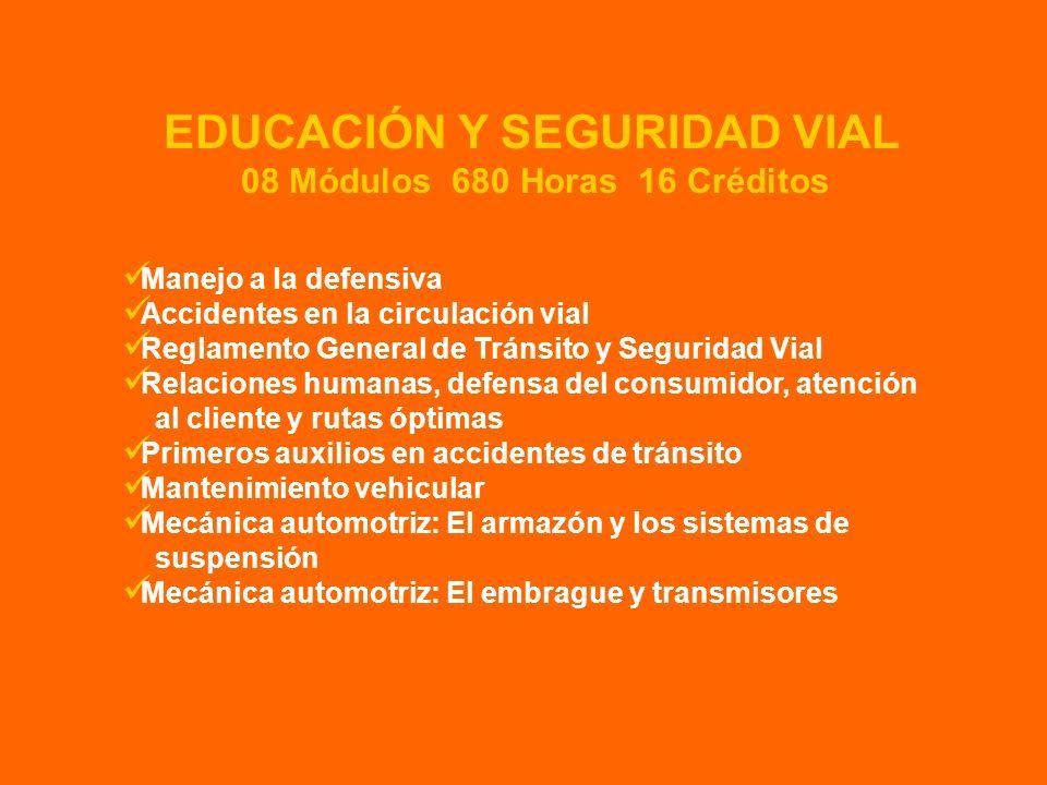 EDUCACIÓN Y SEGURIDAD VIAL 08 Módulos 680 Horas 16 Créditos