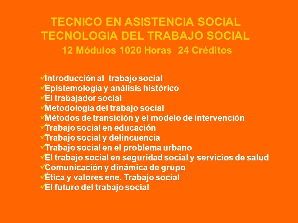 TECNOLOGIA DEL TRABAJO SOCIAL 12 Módulos 1020 Horas 24 Créditos