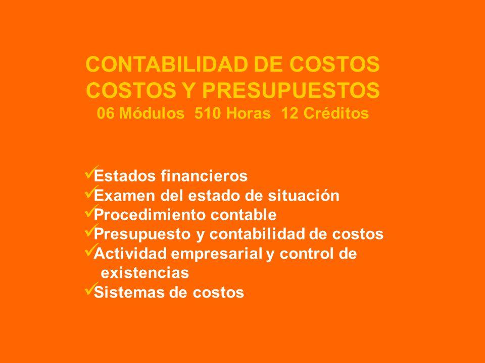 CONTABILIDAD DE COSTOS 06 Módulos 510 Horas 12 Créditos