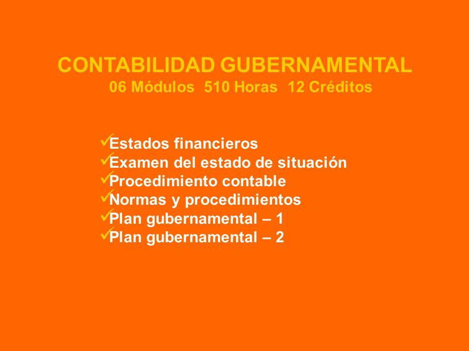 CONTABILIDAD GUBERNAMENTAL 06 Módulos 510 Horas 12 Créditos