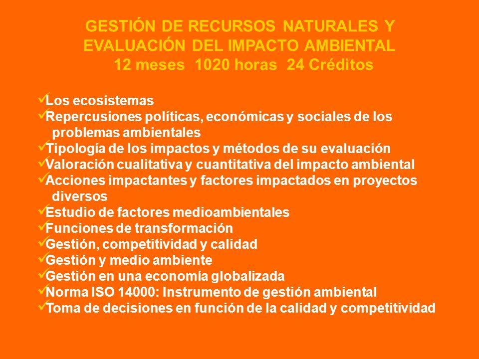 GESTIÓN DE RECURSOS NATURALES Y EVALUACIÓN DEL IMPACTO AMBIENTAL