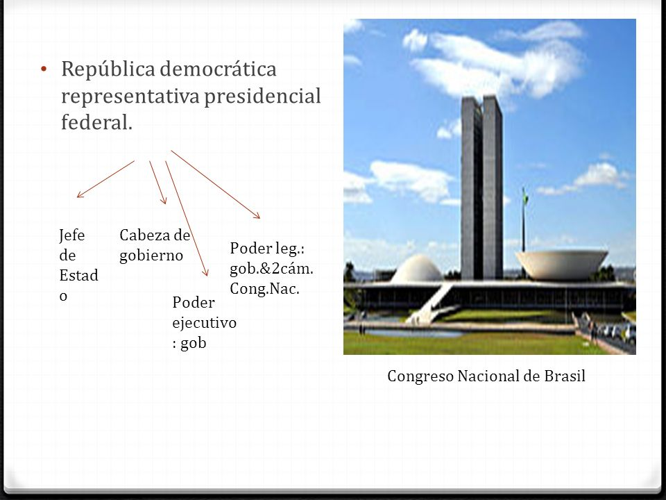 República democrática representativa presidencial federal.