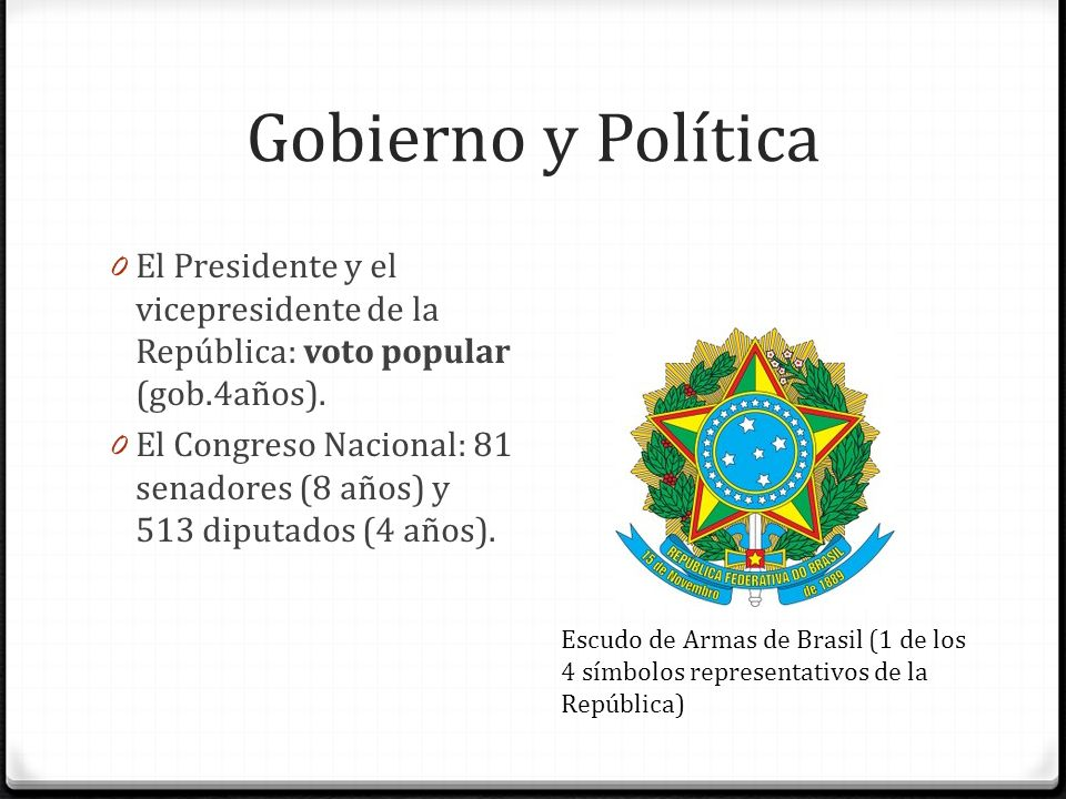 Gobierno y Política El Presidente y el vicepresidente de la República: voto popular (gob.4años).