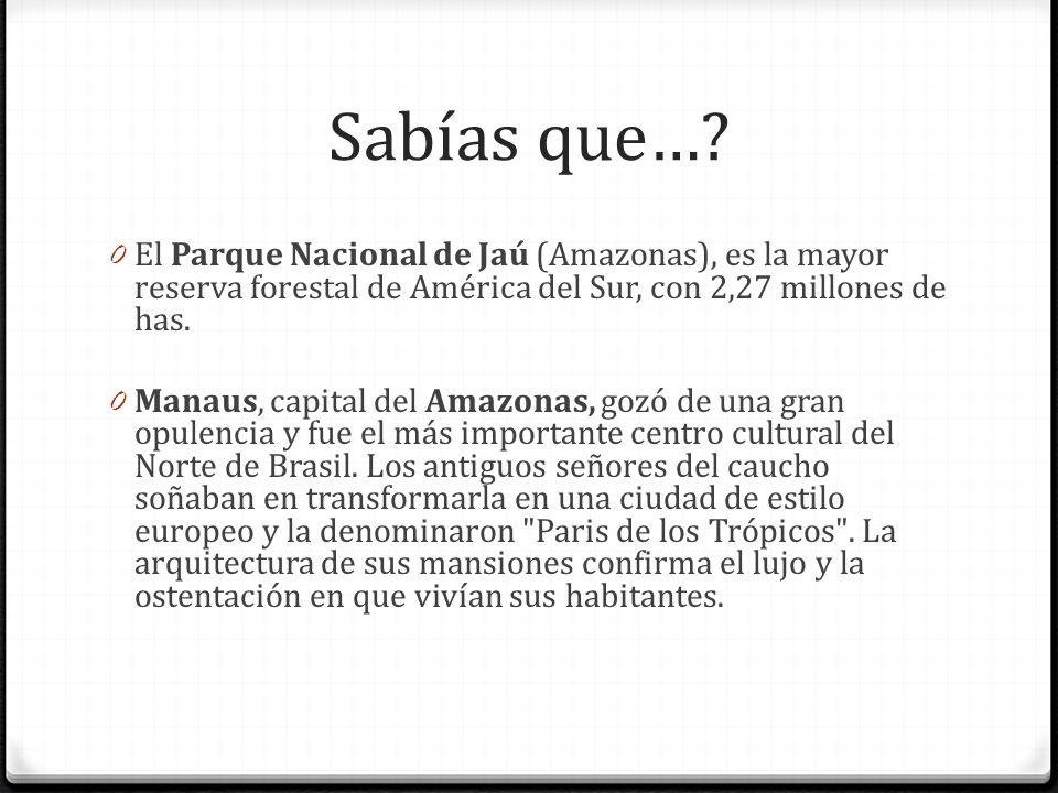 Sabías que… El Parque Nacional de Jaú (Amazonas), es la mayor reserva forestal de América del Sur, con 2,27 millones de has.