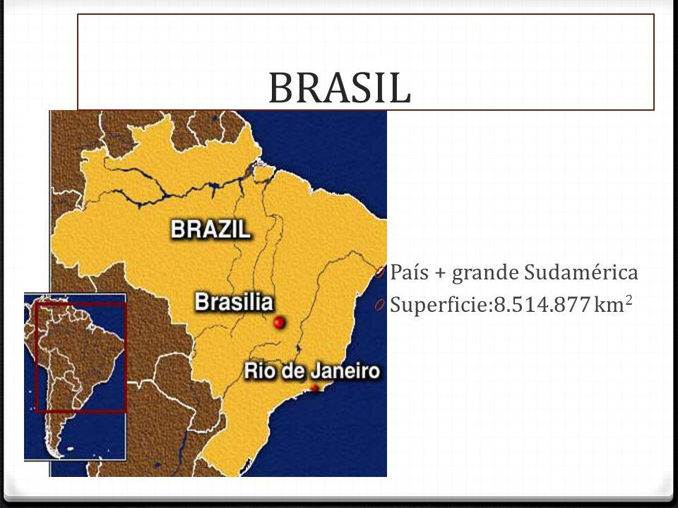 BRASIL BRASIL País + grande Sudamérica Superficie:8.514.877 km2