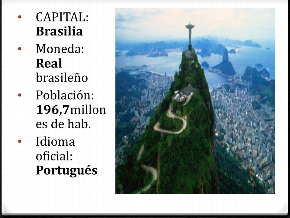 CAPITAL: Brasilia Moneda: Real brasileño Población: 196,7millones de hab. Idioma oficial: Portugués