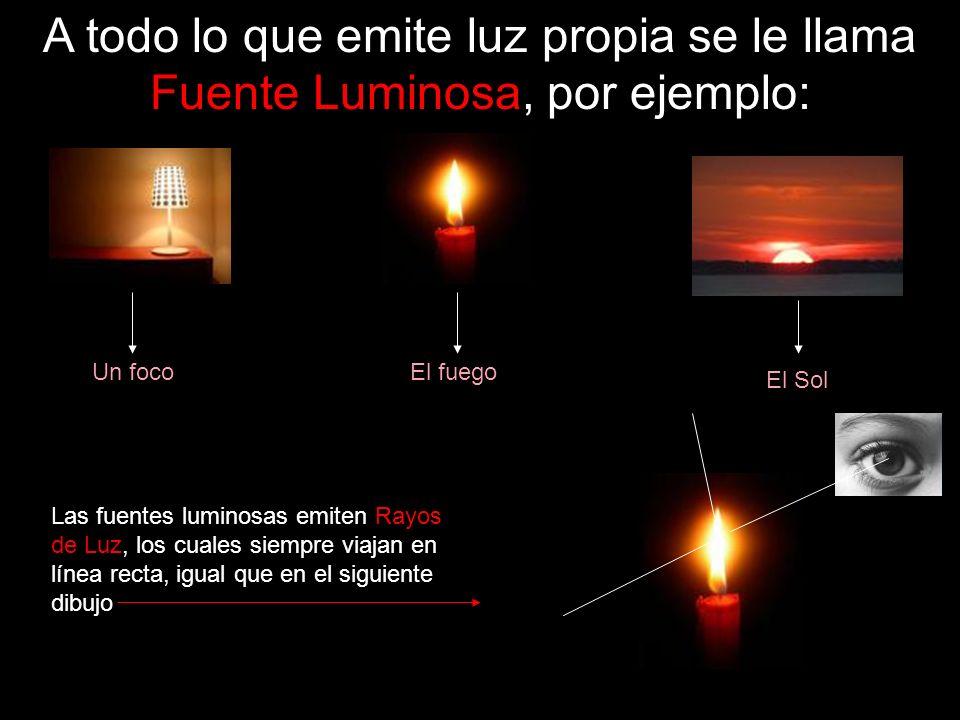 A todo lo que emite luz propia se le llama Fuente Luminosa, por ejemplo: