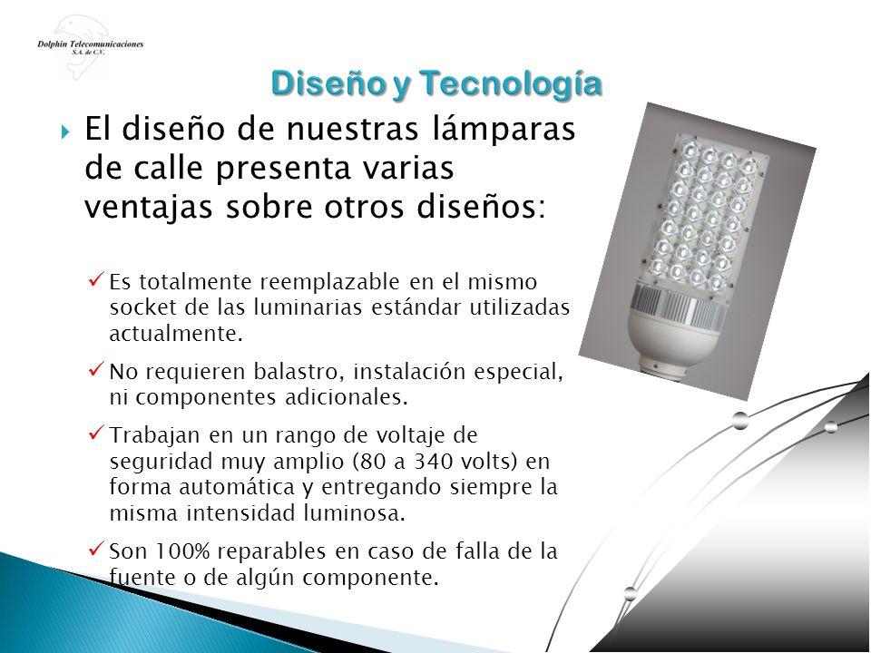 Diseño y Tecnología El diseño de nuestras lámparas de calle presenta varias ventajas sobre otros diseños: