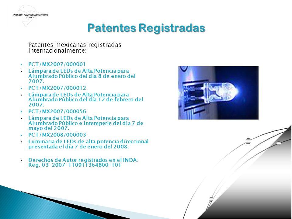 Patentes Registradas Patentes mexicanas registradas internacionalmente: PCT/MX2007/000001.