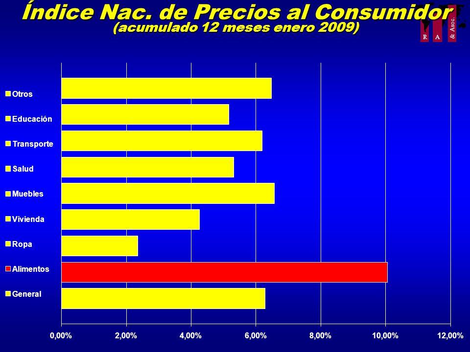 Índice Nac. de Precios al Consumidor (acumulado 12 meses enero 2009)