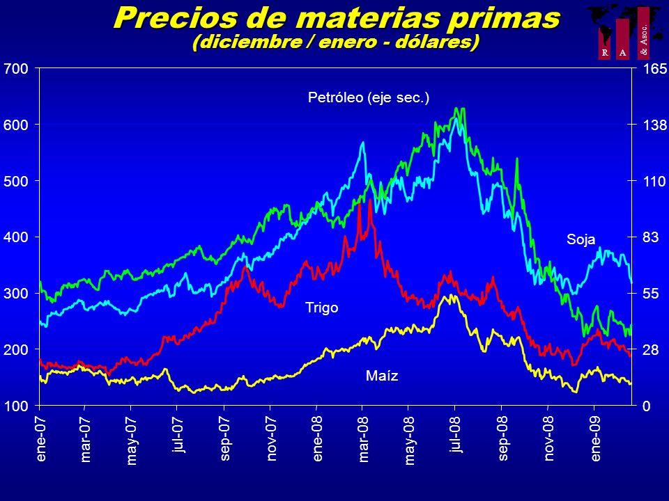 Precios de materias primas (diciembre / enero - dólares)