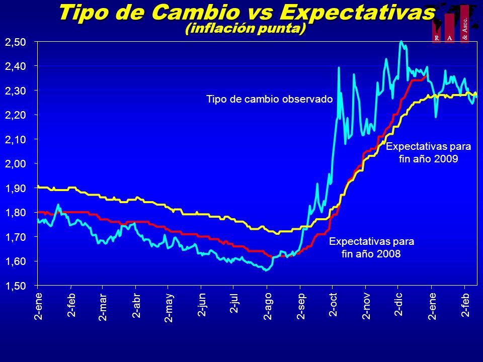 Tipo de Cambio vs Expectativas (inflación punta)