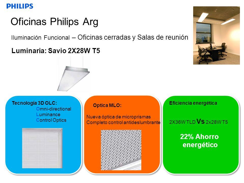 Oficinas Philips Arg Luminaria: Savio 2X28W T5 22% Ahorro energético