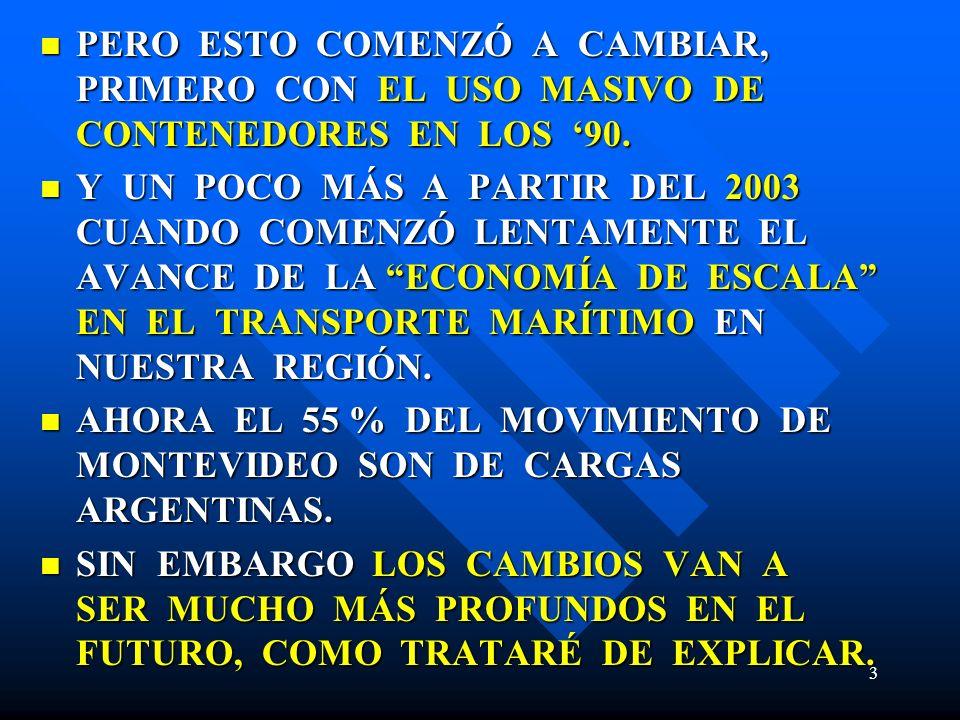 PERO ESTO COMENZÓ A CAMBIAR, PRIMERO CON EL USO MASIVO DE CONTENEDORES EN LOS '90.