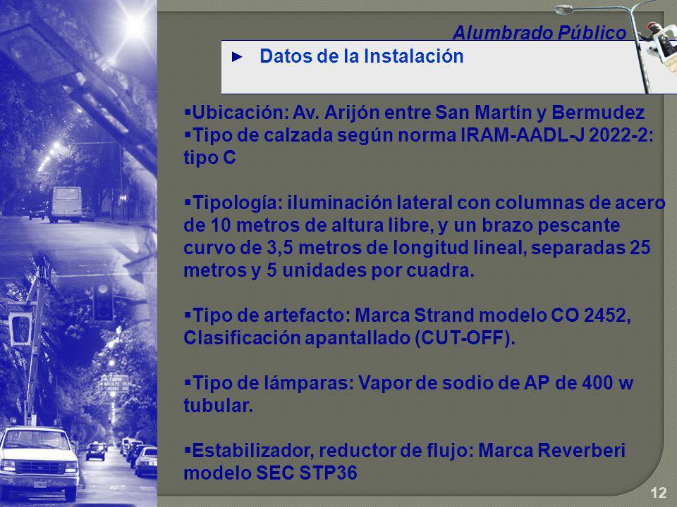 Alumbrado Público Datos de la Instalación. Ubicación: Av. Arijón entre San Martín y Bermudez.