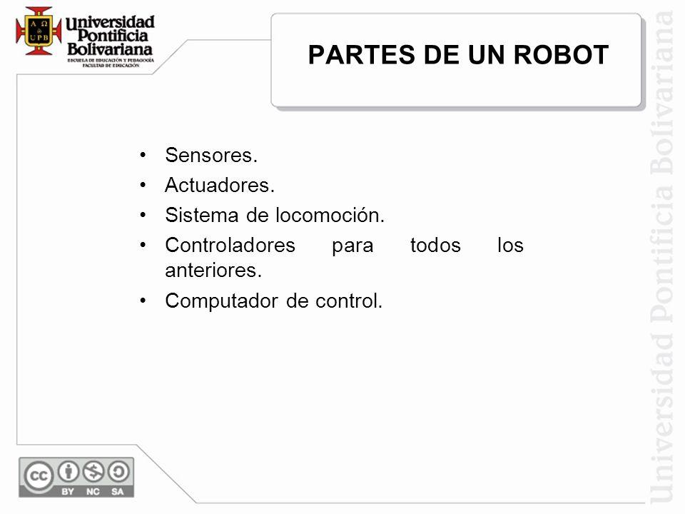 PARTES DE UN ROBOT Sensores. Actuadores. Sistema de locomoción.