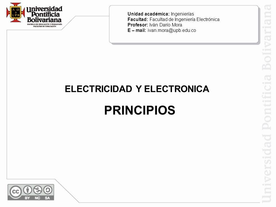 PRINCIPIOS ELECTRICIDAD Y ELECTRONICA Unidad académica: Ingenierías
