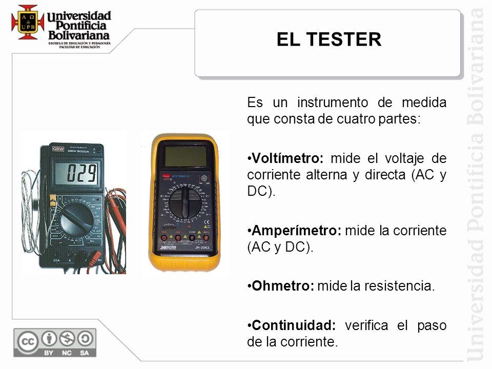 EL TESTER Es un instrumento de medida que consta de cuatro partes: