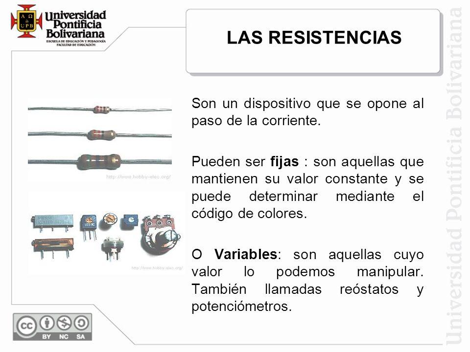 LAS RESISTENCIAS Son un dispositivo que se opone al paso de la corriente.