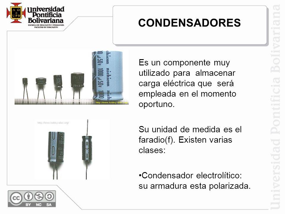 CONDENSADORES Es un componente muy utilizado para almacenar carga eléctrica que será empleada en el momento oportuno.