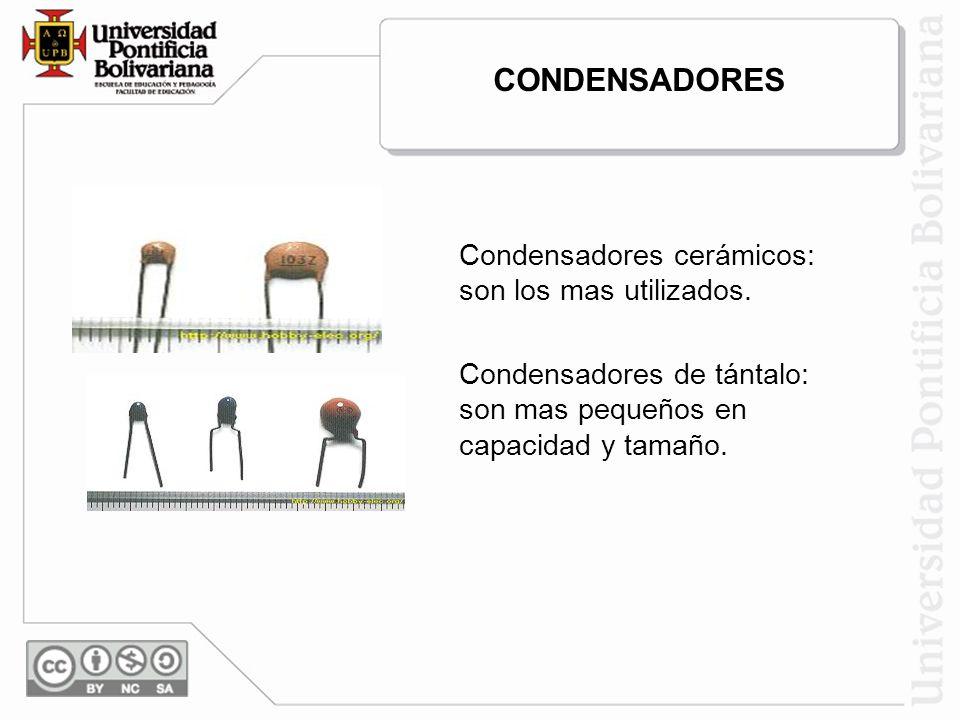 CONDENSADORES Condensadores cerámicos: son los mas utilizados.