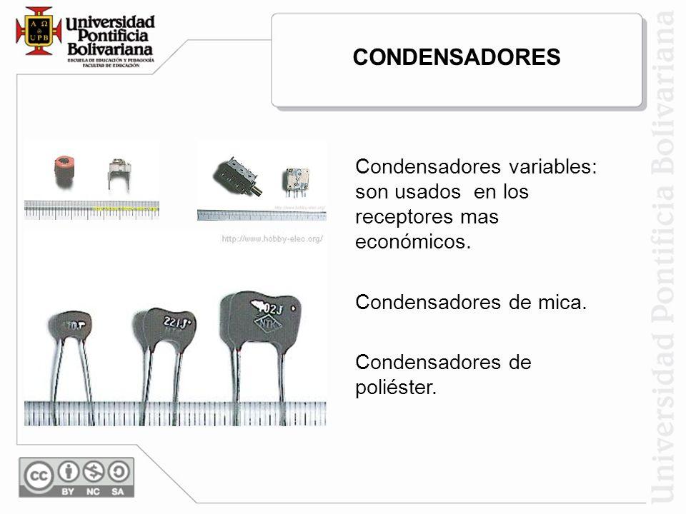 CONDENSADORES Condensadores variables: son usados en los receptores mas económicos. Condensadores de mica.