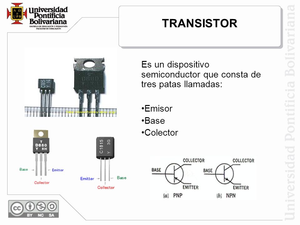 TRANSISTOR Es un dispositivo semiconductor que consta de tres patas llamadas: Emisor Base Colector