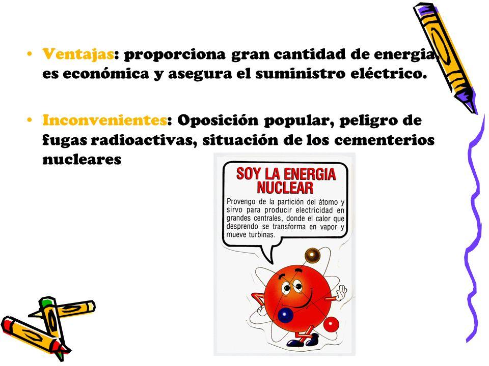 Ventajas: proporciona gran cantidad de energia, es económica y asegura el suministro eléctrico.