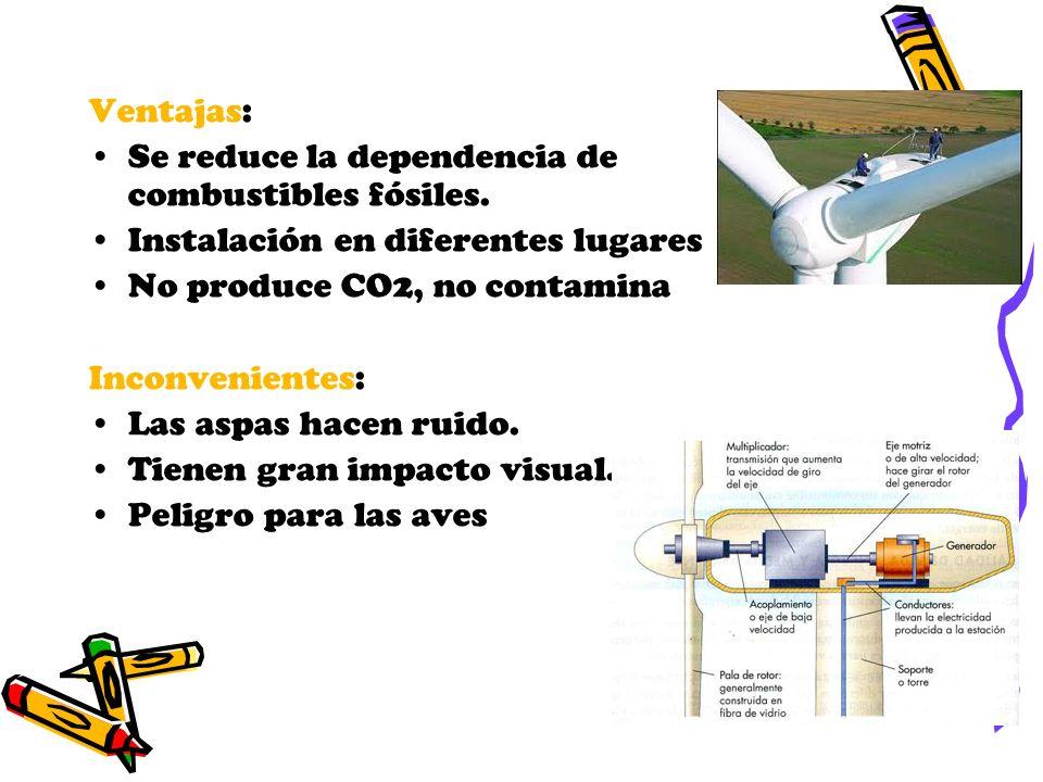 Ventajas: Se reduce la dependencia de combustibles fósiles. Instalación en diferentes lugares. No produce CO2, no contamina.