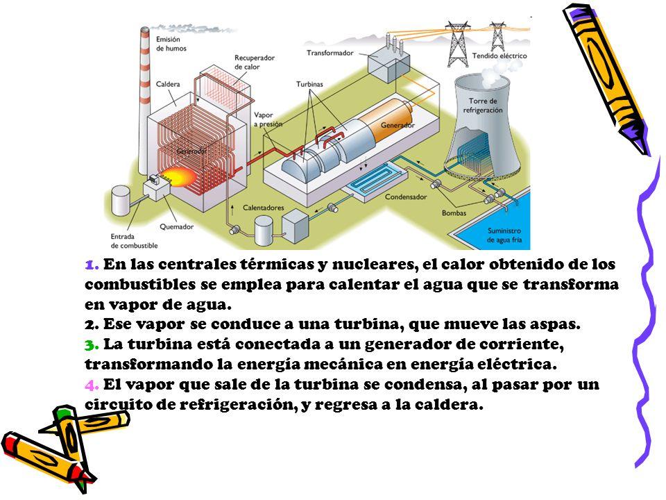 1. En las centrales térmicas y nucleares, el calor obtenido de los combustibles se emplea para calentar el agua que se transforma en vapor de agua.