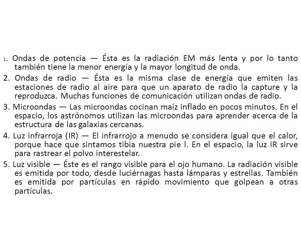 1. Ondas de potencia — Ésta es la radiación EM más lenta y por lo tanto también tiene la menor energía y la mayor longitud de onda.