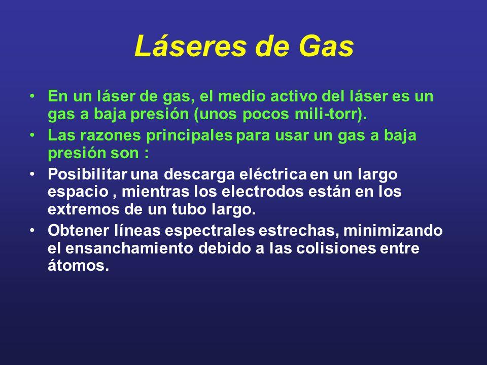 Láseres de Gas En un láser de gas, el medio activo del láser es un gas a baja presión (unos pocos mili-torr).