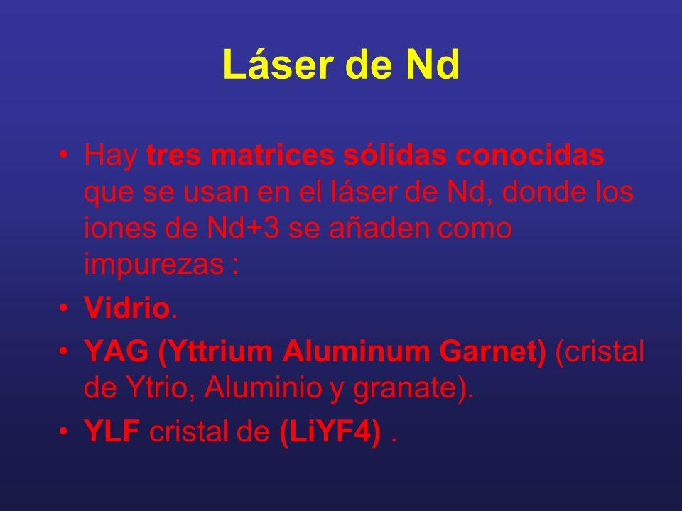 Láser de Nd Hay tres matrices sólidas conocidas que se usan en el láser de Nd, donde los iones de Nd+3 se añaden como impurezas :