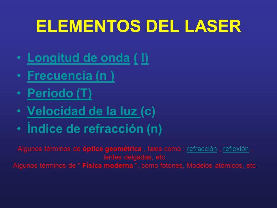 ELEMENTOS DEL LASER Longitud de onda ( l) Frecuencia (n ) Periodo (T)