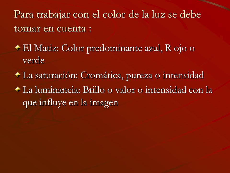 Para trabajar con el color de la luz se debe tomar en cuenta :