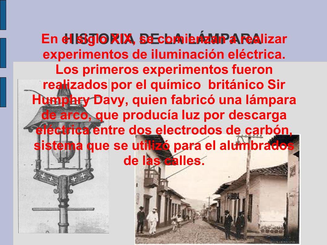 HISTORIA DE LA LÁMPARAEn el siglo XIX, se comienzan a realizar experimentos de iluminación eléctrica.