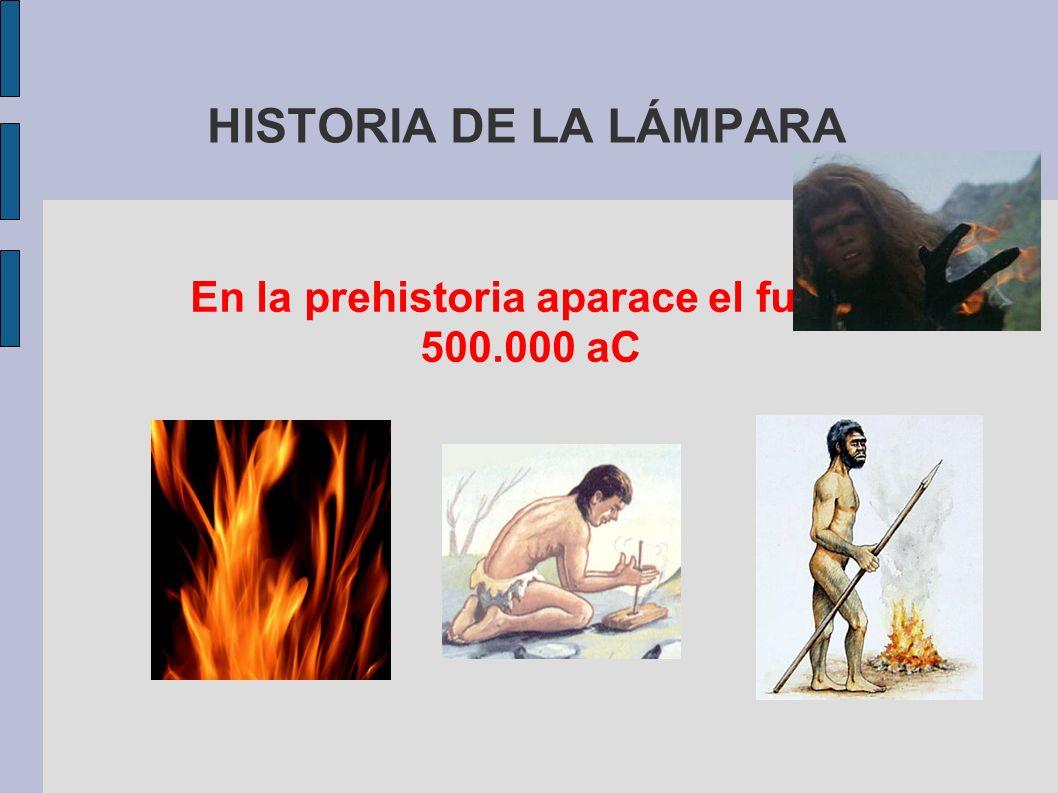 En la prehistoria aparace el fuego 500.000 aC