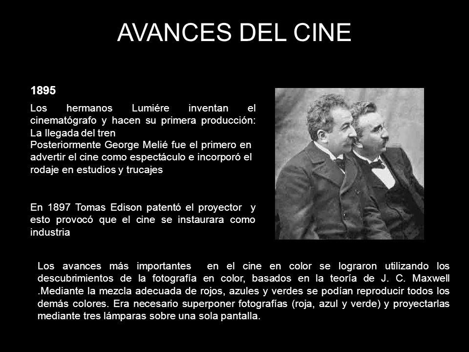 AVANCES DEL CINE 1895. Los hermanos Lumiére inventan el cinematógrafo y hacen su primera producción: La llegada del tren.