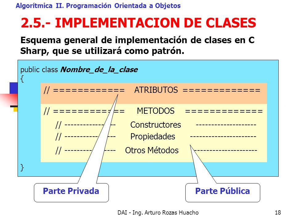 2.5.- IMPLEMENTACION DE CLASES