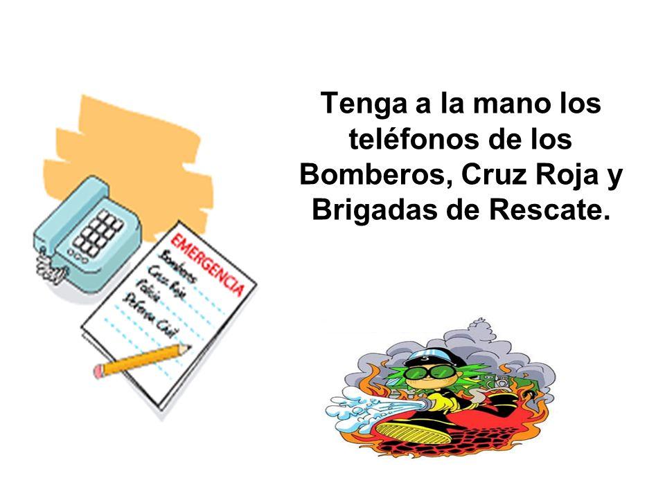 Tenga a la mano los teléfonos de los Bomberos, Cruz Roja y Brigadas de Rescate.