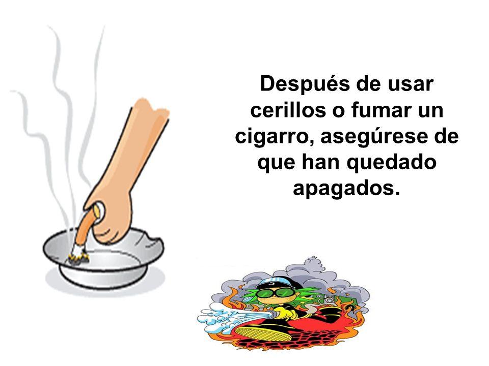 Después de usar cerillos o fumar un cigarro, asegúrese de que han quedado apagados.