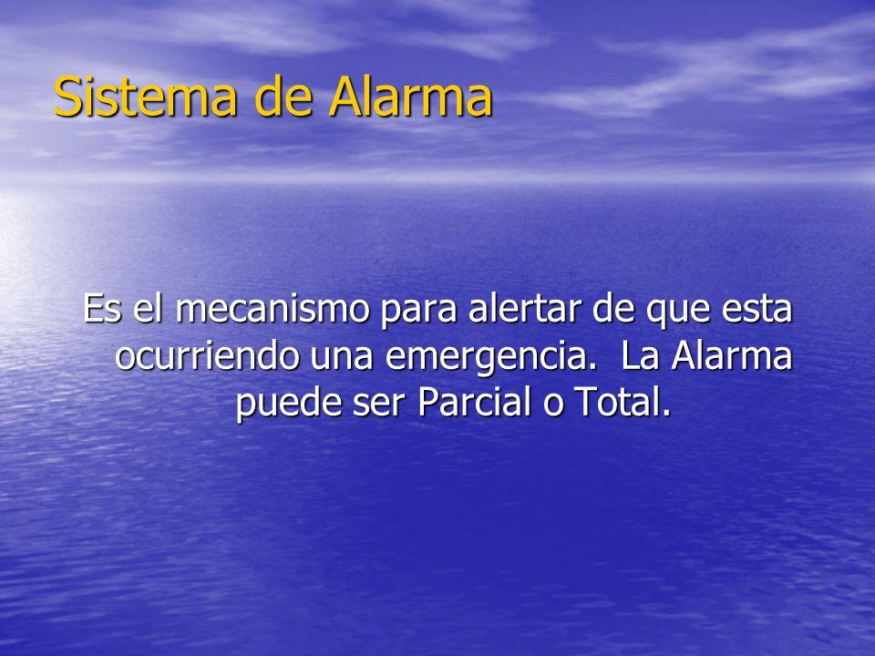 Sistema de Alarma Es el mecanismo para alertar de que esta ocurriendo una emergencia.